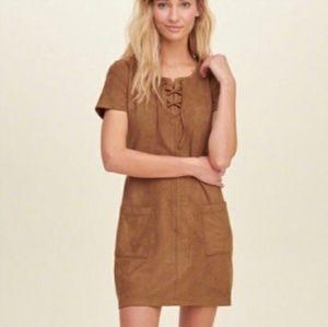Hollister Faux Suede Mini Shift Dress Western Boho